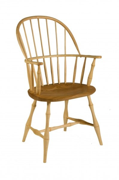 Double bow chair by James Mursell in ash and chestnut