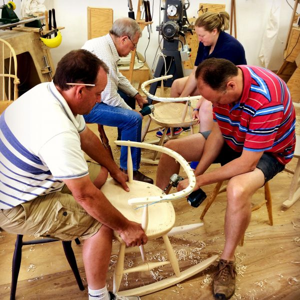 drilling seats of rocking chairs