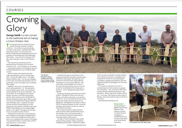 Chair making course article